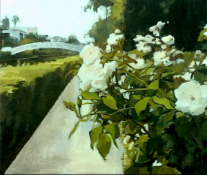 """Londres Rose Ponts."" 30"" x 36"" Oil on Oil Primed Canvas"