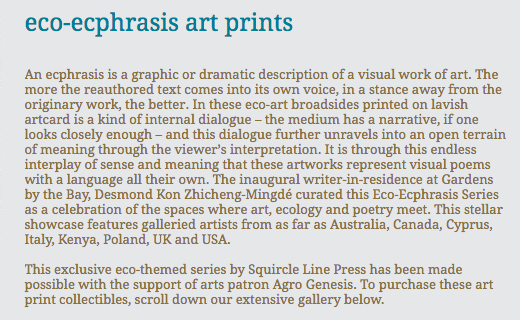 eco-ecphrasis art prints